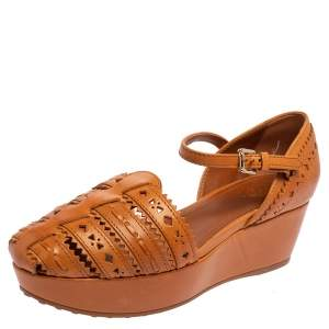 Tod's Brown Cutout Leather Ankle Strap Wedge Sandals Size 37.5