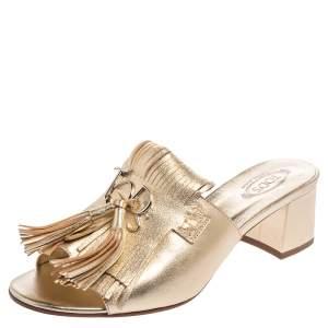 Tod's Gold Leather Fringe Peep Toe Mules Sandals Size 39