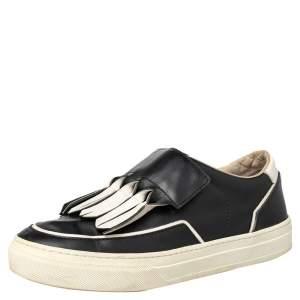 Tod's Black/White Leather Fringe Detail Slip On Sneakers Size 37
