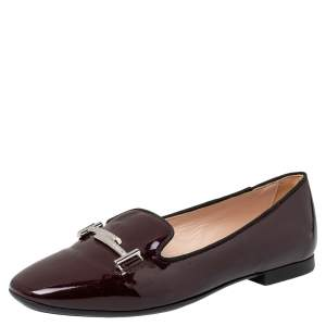 Tod's Burgundy Patent Leather Double T Smoking Slippers Size 38