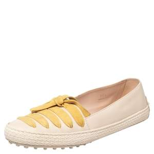 Tod's Beige/Yellow Leather And Suede Bow Espadrille Flats Size 39.5