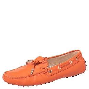 Tod's Orange Leather Bow Slip On Loafers Size 39