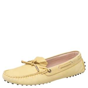 Tod's Yellow Leather Bow Slip On Loafers Size 39