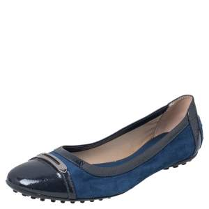 Tod's Blue Suede And Patent Leather Embellished Cap Toe Ballet Flats Size 38