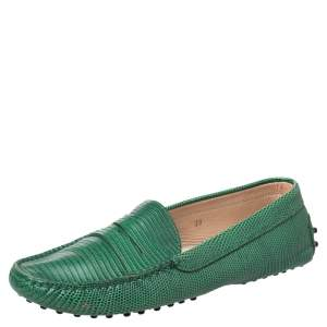Tod's Green Lizard Embossed Leather Penny Slip On Loafers Size 39
