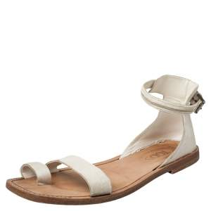 Tod's White Calf Hair Ankle Strap Sandals Size 38.5
