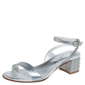 Tod's Metallic Silver Leather Studded Heel Ankle Strap Sandals Size 35.5