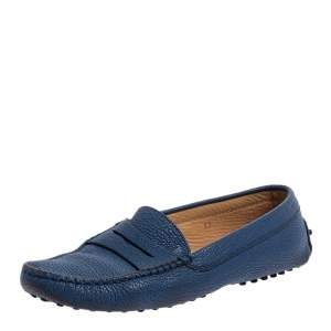 Tod's Blue Leather Penny Loafers Size 37