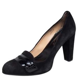 حذاء لوفرز كعب عالي تودز بيني سويدي أسود وجلد لامع مقاس 38.5