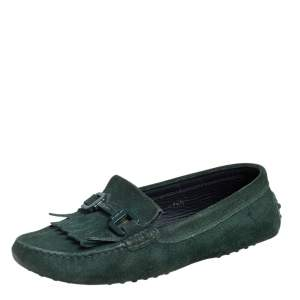 Tod's Green Suede Fringe Slip On Loafers Size 36.5