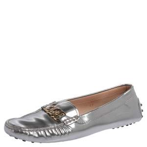 Tod's Metallic Silver Leather Chain Link Slip On Loafers Size 41