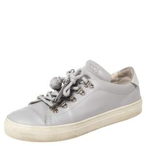Tod's Grey Leather Tassel Trim Low Top Sneakers Size 38.5