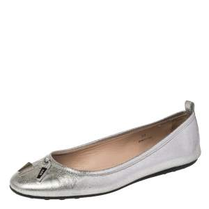 Tod's Metallic Silver Leather Studded Ballet Flats Size 38