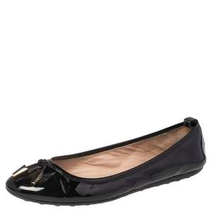 Tod's Black Patent Leather Studded Ballet Flats Size 38