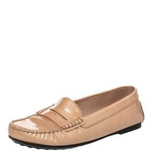 Tod's Beige Textured Patent Leather Penny Slip On Loafers Size 37.5