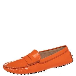 Tod's Orange Patent Leather Penny Slip On Loafers Size 39