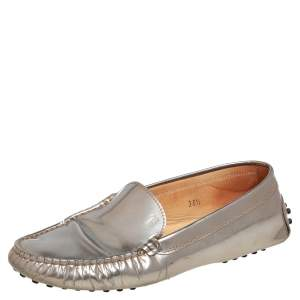 Tod's Silver Patent Leather Slip On Loafers Size 36.5