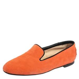 Tod's Orange Suede Smoking Slippers Size 36