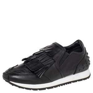 Tod's Black Leather Fringed Slip On Sneakers Size 37