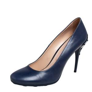 Tod's Blue Leather Loafer Pumps Size 39.5