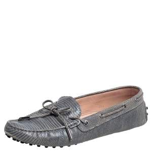 Tod's Blue Lizard Embossed Leather Bow Loafers Size 39.5