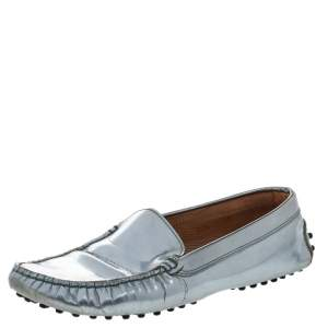 Tod's Metallic Silver Leather Slip On Loafers Size 37.5