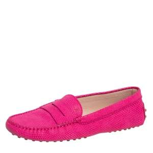 Tod's Pink Python Embossed Penny Loafers Size 39