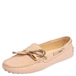 Tod's Blush Pink Leather Bow Loafers Size 39
