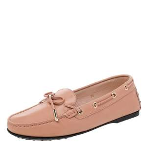 Tod's Beige Leather Bow Slip On Loafers Size 36