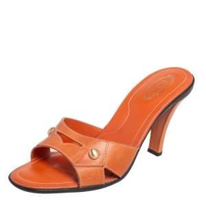 Tod's Orange Leather Slide Sandals Size 37.5