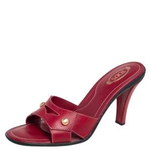 Tod's Red Leather Slide Sandals Size 38.5