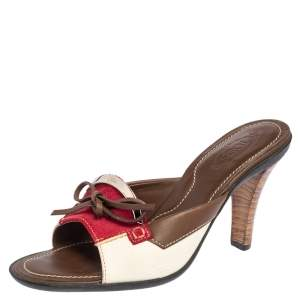Tod's Tri Color Leather and Suede Bow Slide Sandals Size 37.5