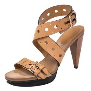 Tod's Brown Leather Buckle Detail Open Toe Ankle Strap Sandals Size 37
