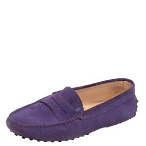 Tod's Purple Suede Penny Slip On Loafers Size 35.5