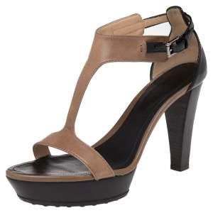 Tod's Brown Leather T-Bar Ankle Strap Platform Sandals Size 37.5