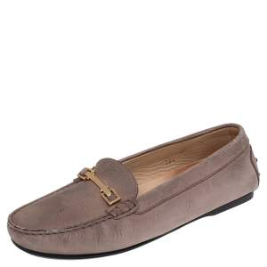 Tod's Beige Leather Buckle Slip On Loafers Size 38.5