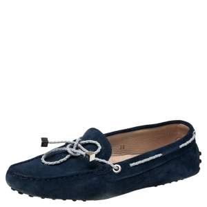 Tod's Navy Blue Suede Bow Slip On Loafers Size 38