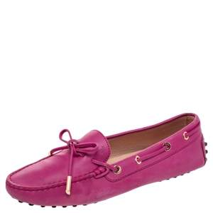 Tod's Pink Leather Gommino Slip On Loafers Size 38
