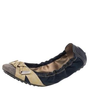 Tod's Multicolor Leather And Suede Bow Scrunch Ballet Flats Size 37