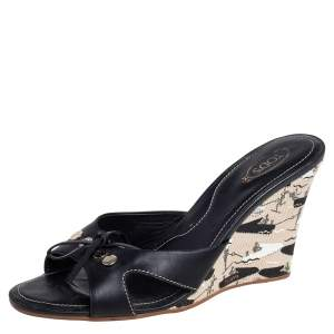 Tod's Black Leather Bow Wedge Slide Sandals Size 41.5