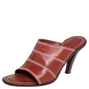 Tod's Brown Leather Open Toe Mule Sandals Size 39.5