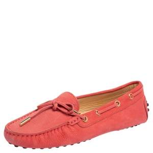 Tod's Pink Suede Bow Slip On Loafers Size 36.5