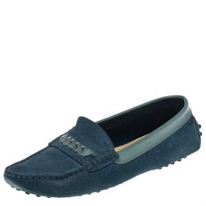 Tod's Blue Suede Slip On Loafers Size 37