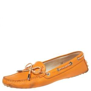 Tod's Orange Leather Bow Slip On Loafers Size 38