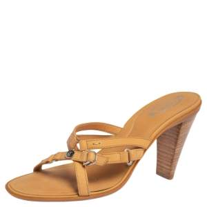 Tod's Tan Leather Strappy Slide Sandals Size 37.5