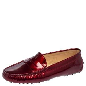 Tod's Burgundy Patent Leather Penny Loafers Size 36.5