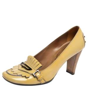 Tod's Yellow Patent Leather Fringe Loafer Pumps Size 39