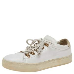 Tod's White Leather Tassel Trim Low Top Sneakers Size 39