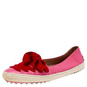 Tod's Pink/Red Suede And Leather Espadrille Flats Size 38.5