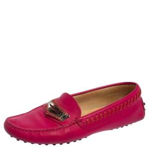 Tod's Fuchsia Leather Whip Stitch Detail Penny Slip On Loafers Size 38